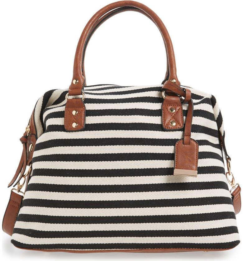 SOLE SOCIETY 'Leighton' Stripe Duffel Bag, Main, color, 001