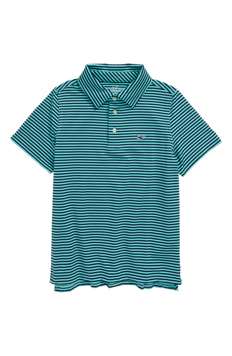VINEYARD VINES Feeder Stripe Performance Polo, Main, color, BLUE DEPTH/ CAPRI BLUE