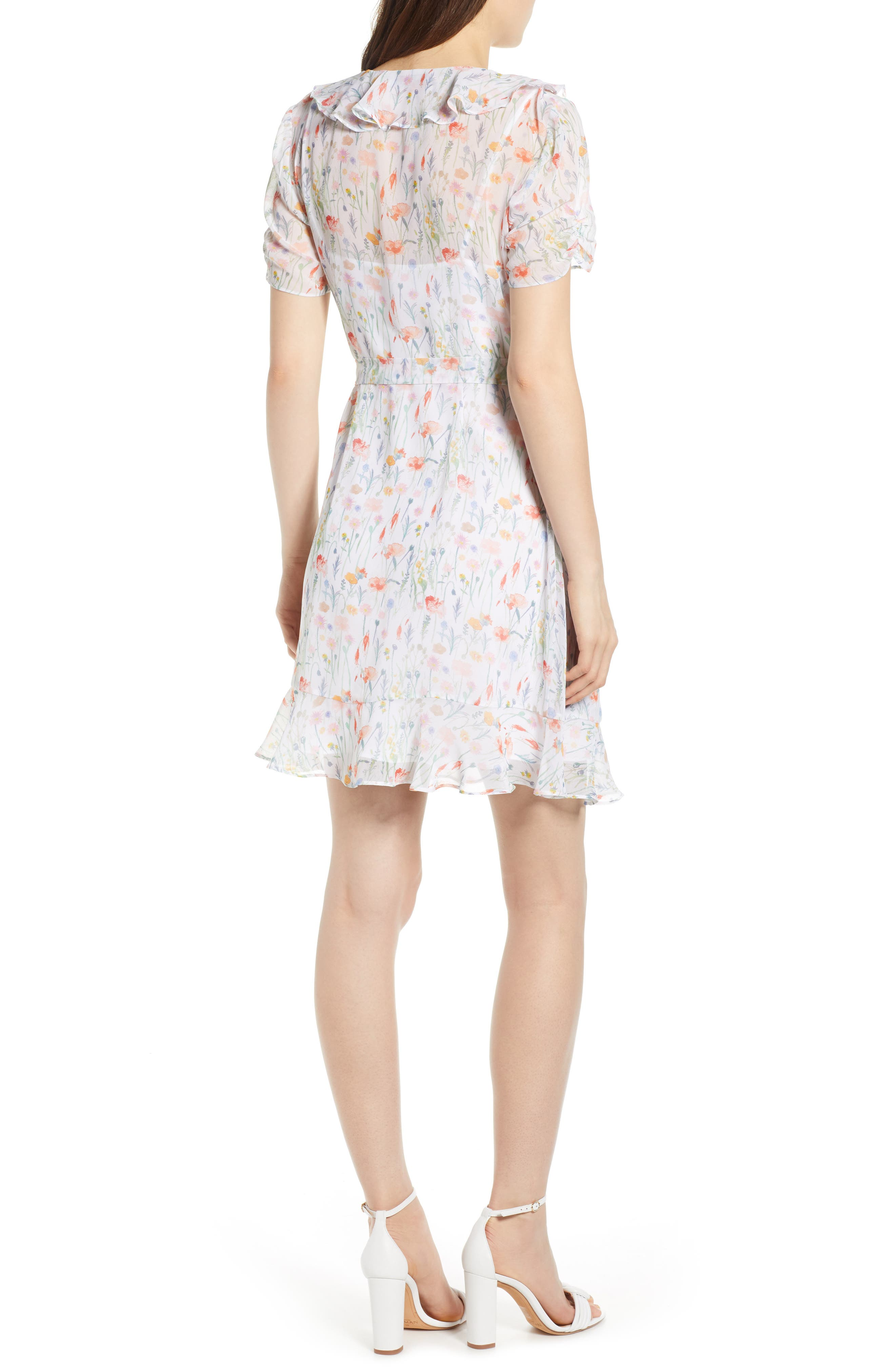 ,                             In the Clouds Floral Ruffle Wrap Dress,                             Alternate thumbnail 2, color,                             WHITE MULTI