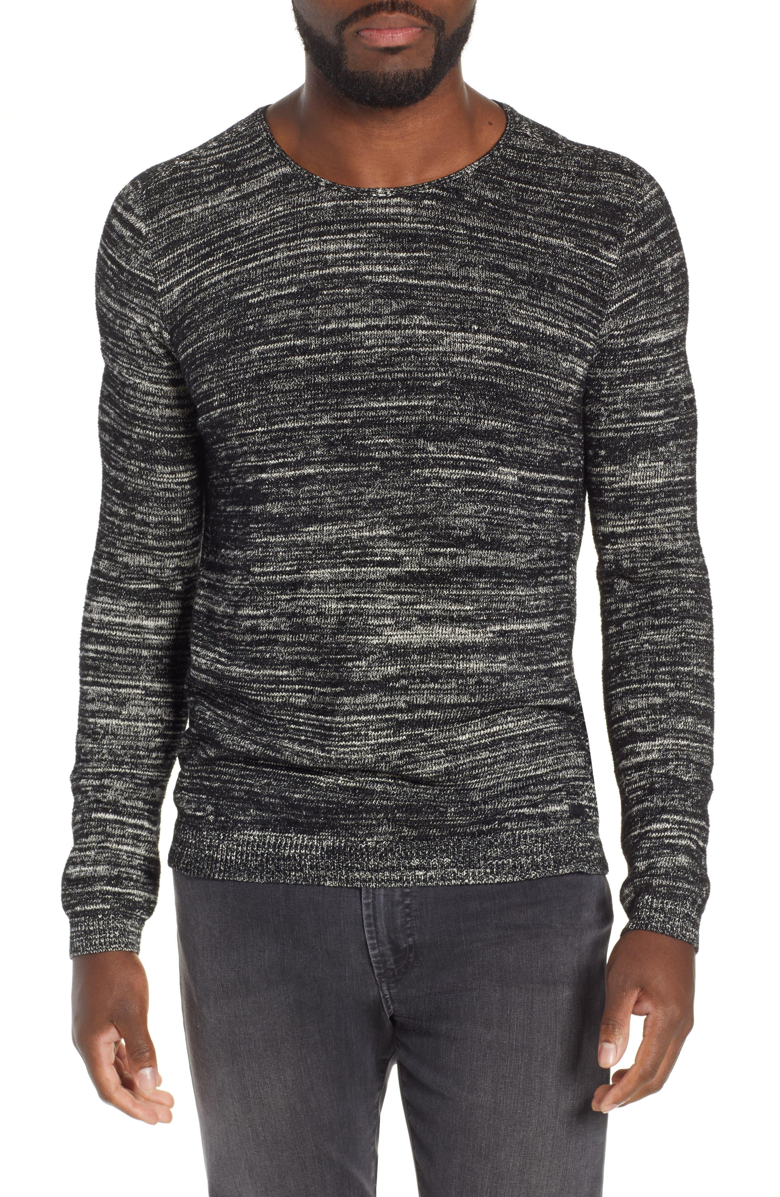 John Varvatos Star Usa Slim Fit Crewneck Sweater, Black