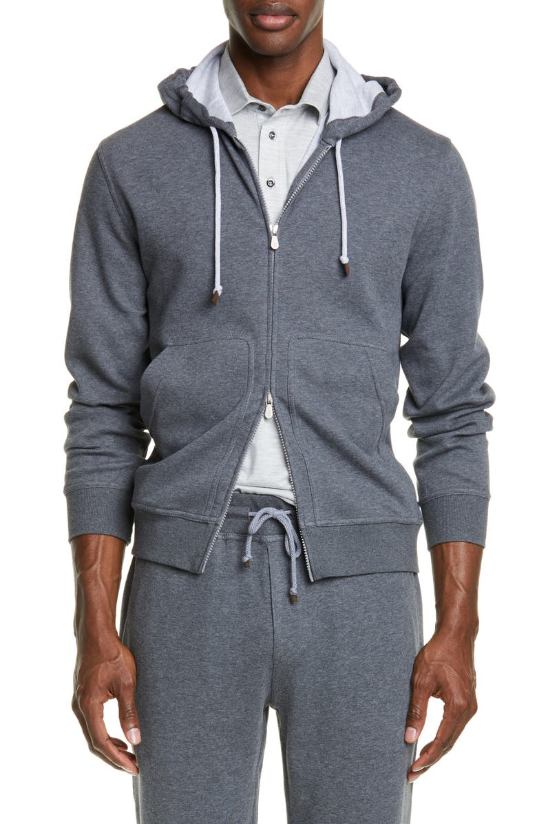 BRUNELLO CUCINELLI Leisure Hooded Cotton Blend Sweatshirt, Main, color, GREY