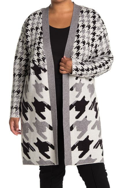 Image of JOSEPH A Maxi Open Front Houndstooth Cardigan