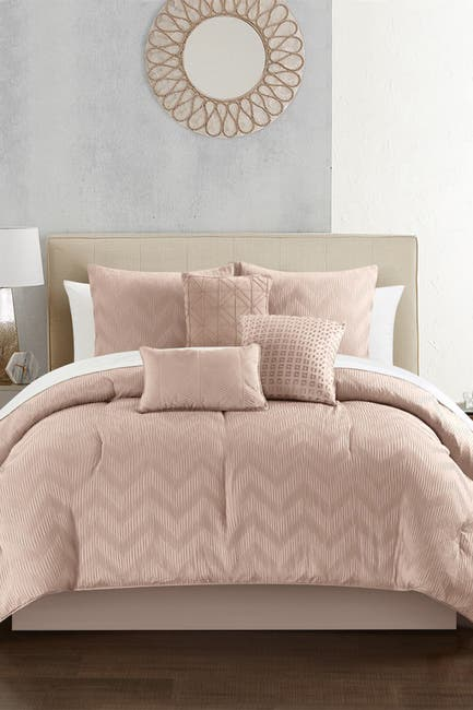 Image of Chic Home Bedding Aveline Plush Ribbed Chevron Design Queen Comforter Set - Rose - 6-Piece Set