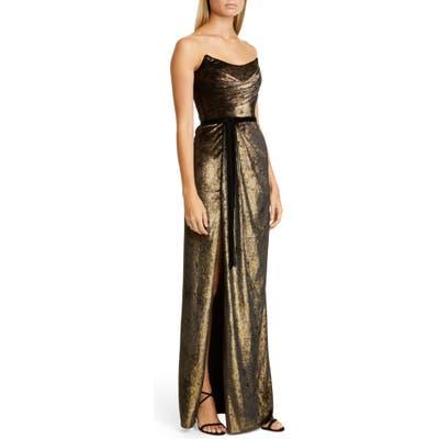 Marchesa Notte Strapless Foiled Velvet Gown, Metallic