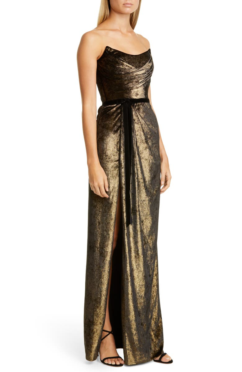MARCHESA NOTTE Strapless Foiled Velvet Gown, Main, color, GOLD