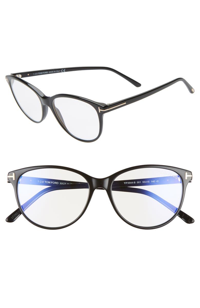 TOM FORD 53mm Blue Light Blocking Glasses, Main, color, SHINY BLACK/ ROSE GOLD