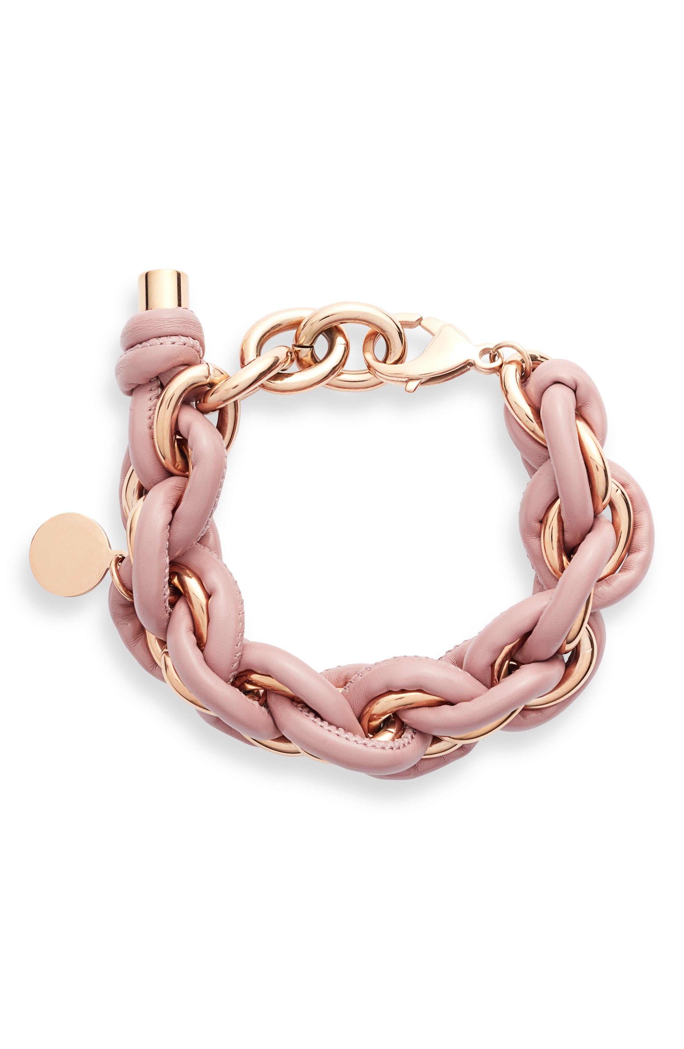 Leather Wrap Chain Bracelet
