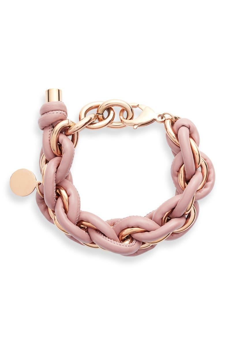 KNOTTY Leather Wrap Chain Bracelet, Main, color, ROSE GOLD/ MAUVE