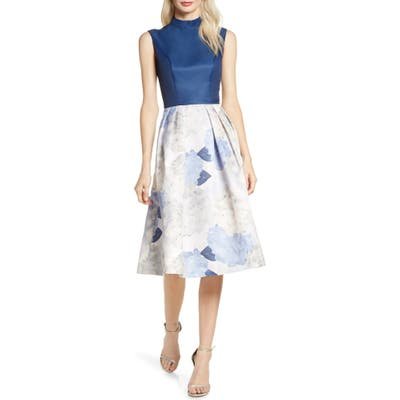 Chi Chi London Cyd Satin & Floral Print Cocktail Dress, Blue