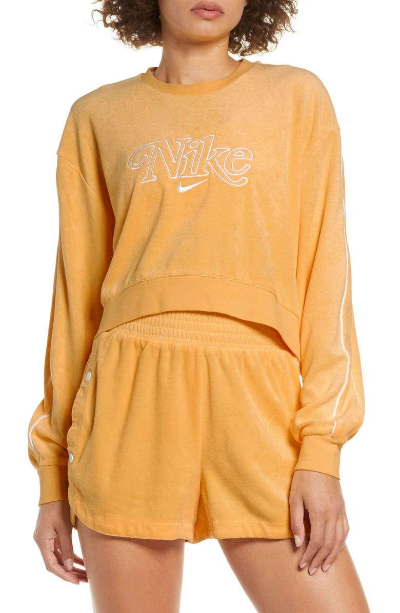 NIKE Sportswear Retro Femme Terry Crewneck Crop Sweatshirt, Main, color, TOPAZ GOLD