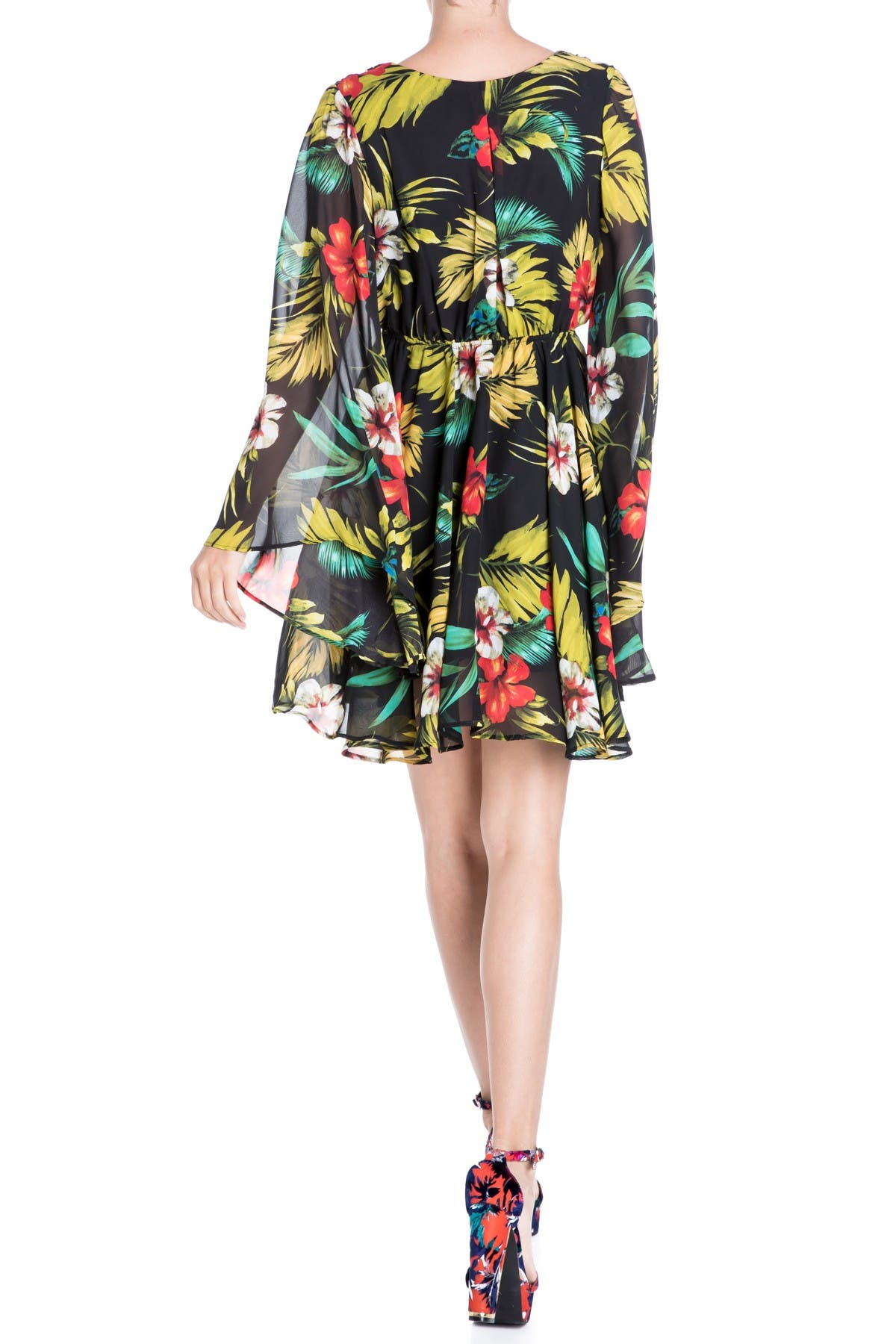 Image of Meghan LA Sunset Floral Bell Sleeve Mini Dress