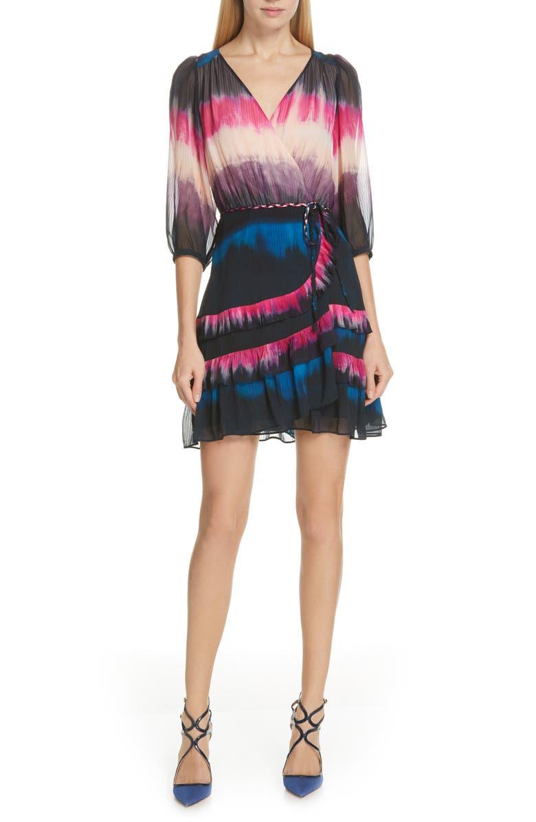 TANYA TAYLOR Valeria Tie Dye Silk Faux Wrap Dress, Main, color, 689