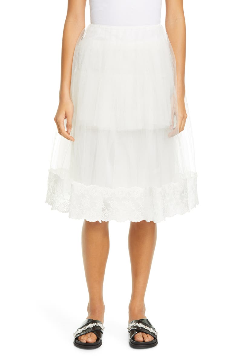 SIMONE ROCHA Lace Trim Tulle Skirt, Main, color, IVORY/ IVORY