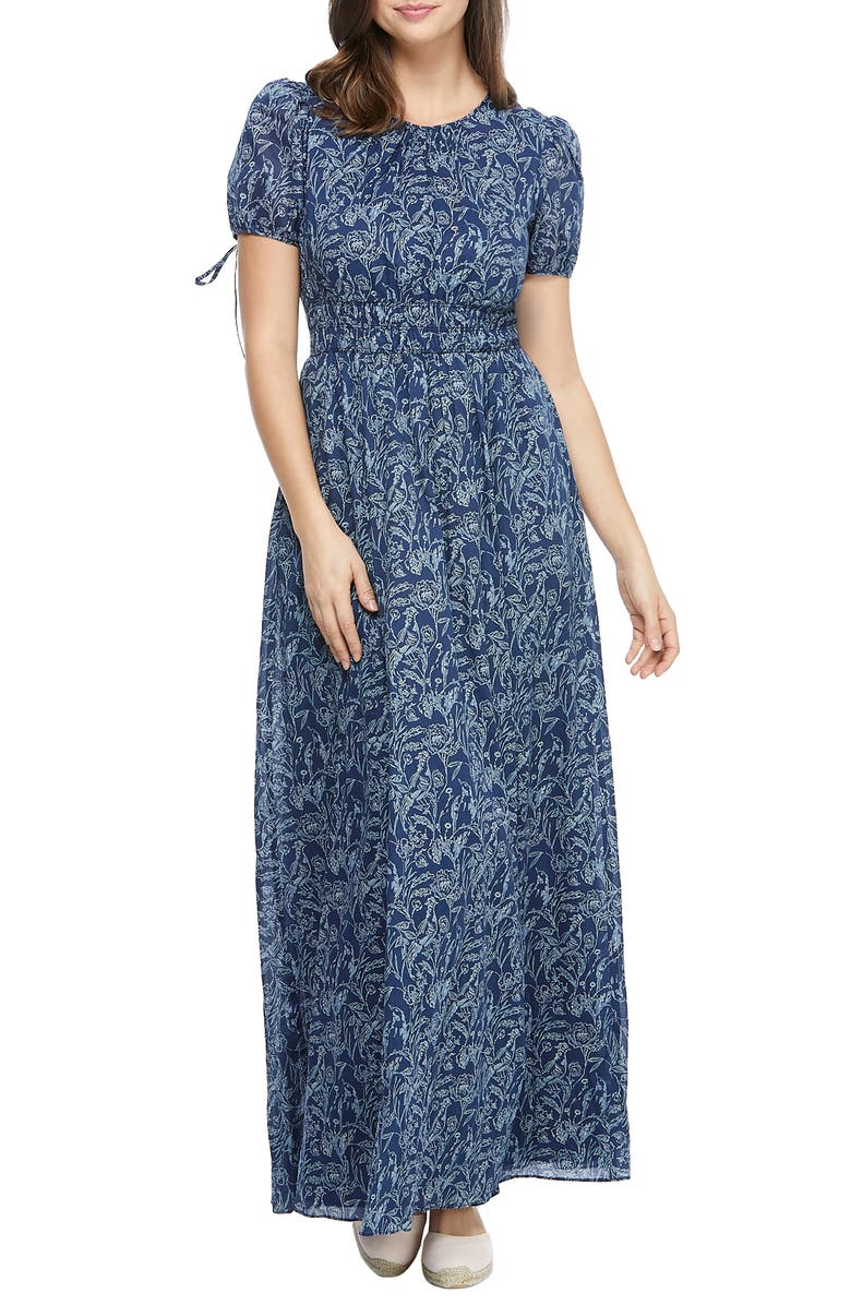GAL MEETS GLAM COLLECTION s Floral Tie Cuff Maxi Dress, Main, color, NAVY/ IVORY