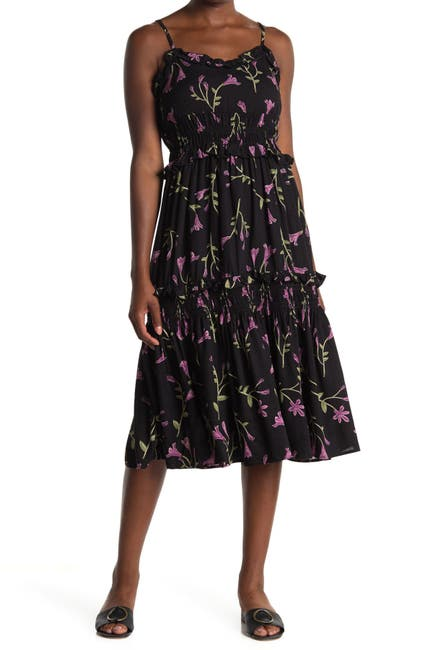 Image of Angie Floral Smocked Tiered Midi Dress