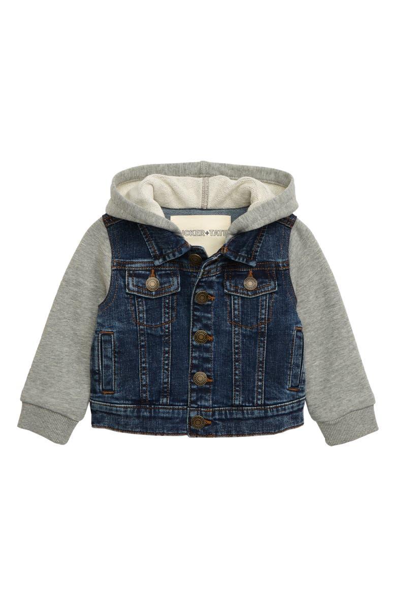 TUCKER + TATE Hooded Denim Jacket, Main, color, CAMP WASH