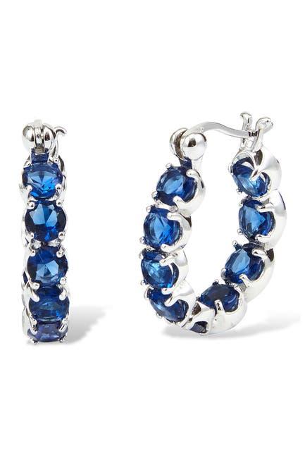 Image of Savvy Cie Sterling Silver Lab Created Sapphire Huggie Hoop Earrings