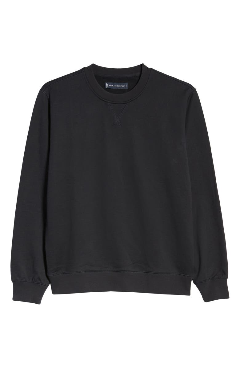 EVERLANE Uniform French Terry Crew Sweatshirt, Main, color, BLACK