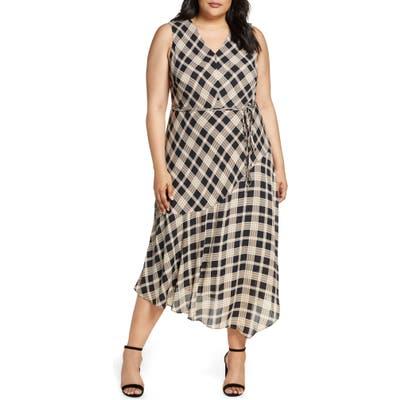 Plus Size Vince Camuto Highland Plaid Asymmetrical Sleeveless Dress, Black