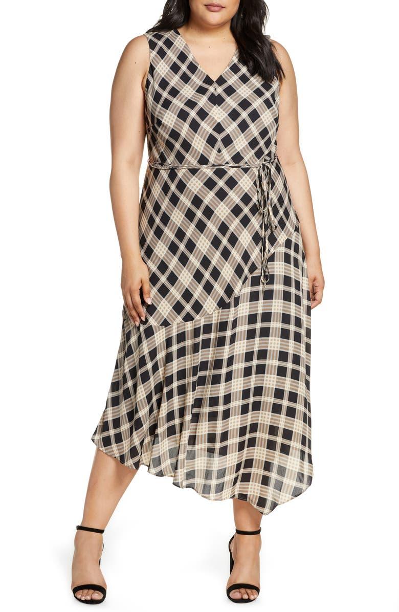 VINCE CAMUTO Highland Plaid Asymmetrical Sleeveless Dress, Main, color, RICH BLACK