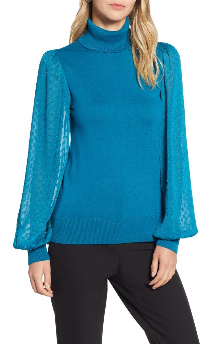 HALOGEN<SUP>®</SUP> Sheer Sleeve Turtleneck Sweater, Main, color, 449