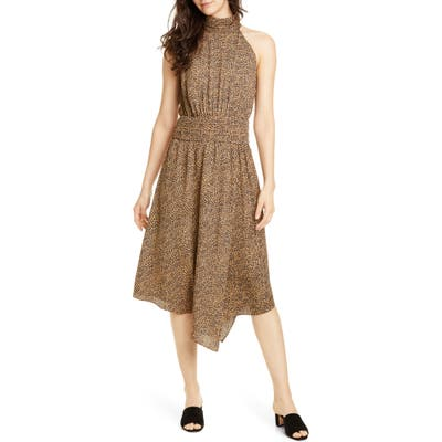Joie Kehlani Halter Neck Asymmetrical Dress, Brown