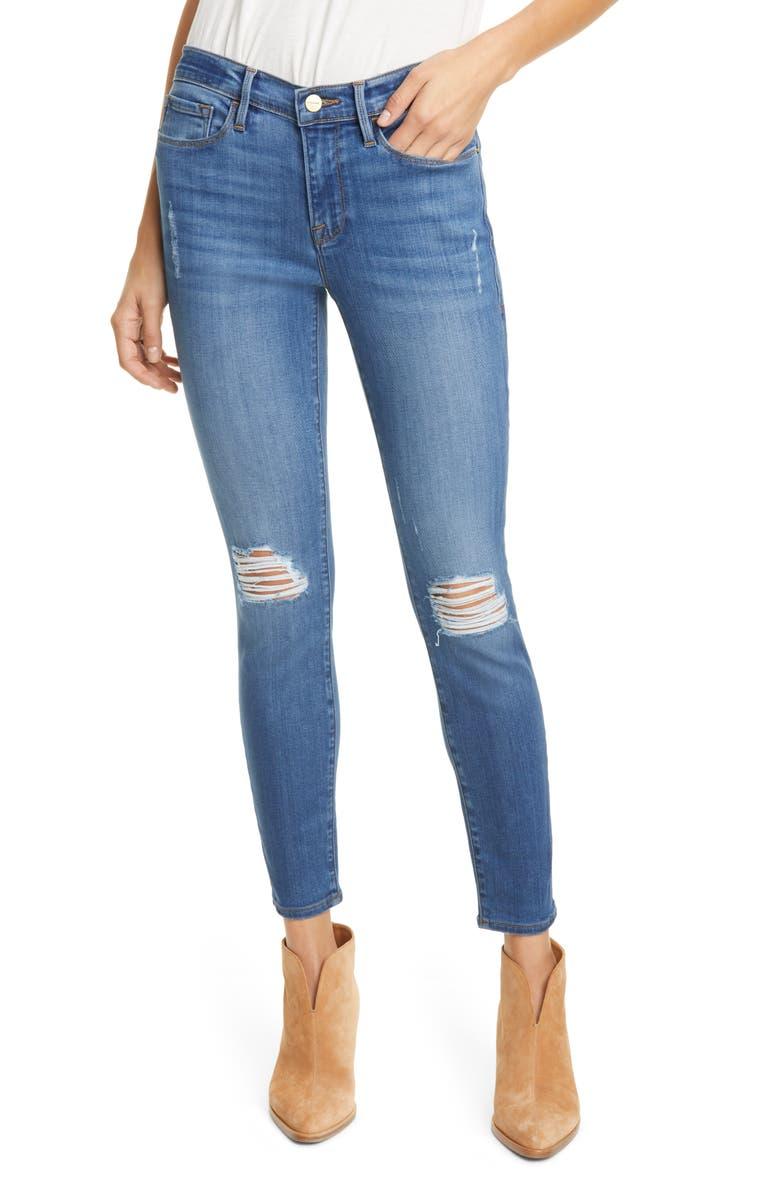 FRAME Le Skinny de Jeanne Distressed Ankle Skinny Jeans, Main, color, POE RIPS