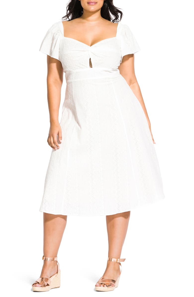 CITY CHIC Pretty Eyelet Dress, Main, color, IVORY