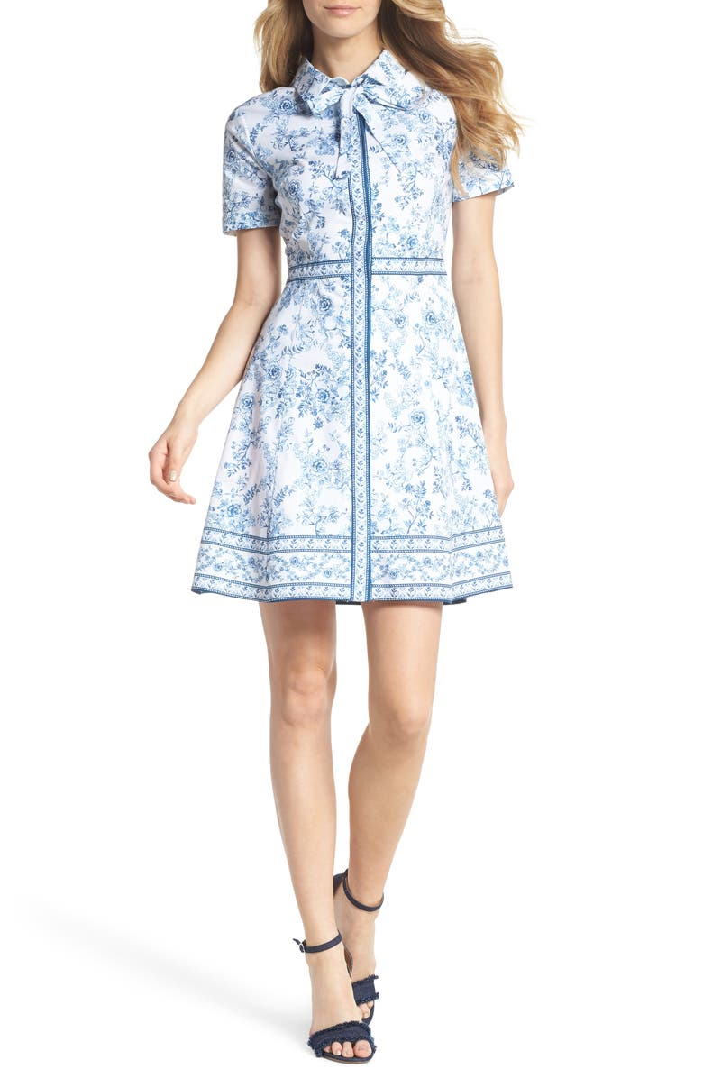 GAL MEETS GLAM COLLECTION Darla Cotton Toile Shirtdress, Main, color, 415