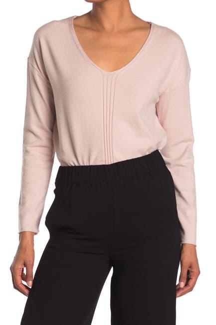 Image of Joan Vass Long Sleeve V-Neck Pullover Sweater