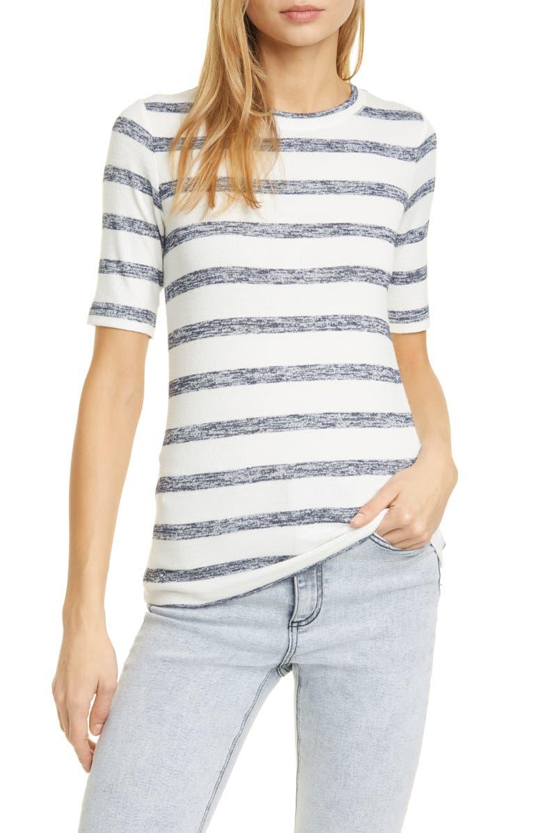 RAG & BONE Hudson Stripe Knit T-Shirt, Main, color, WHTNVYSTRP