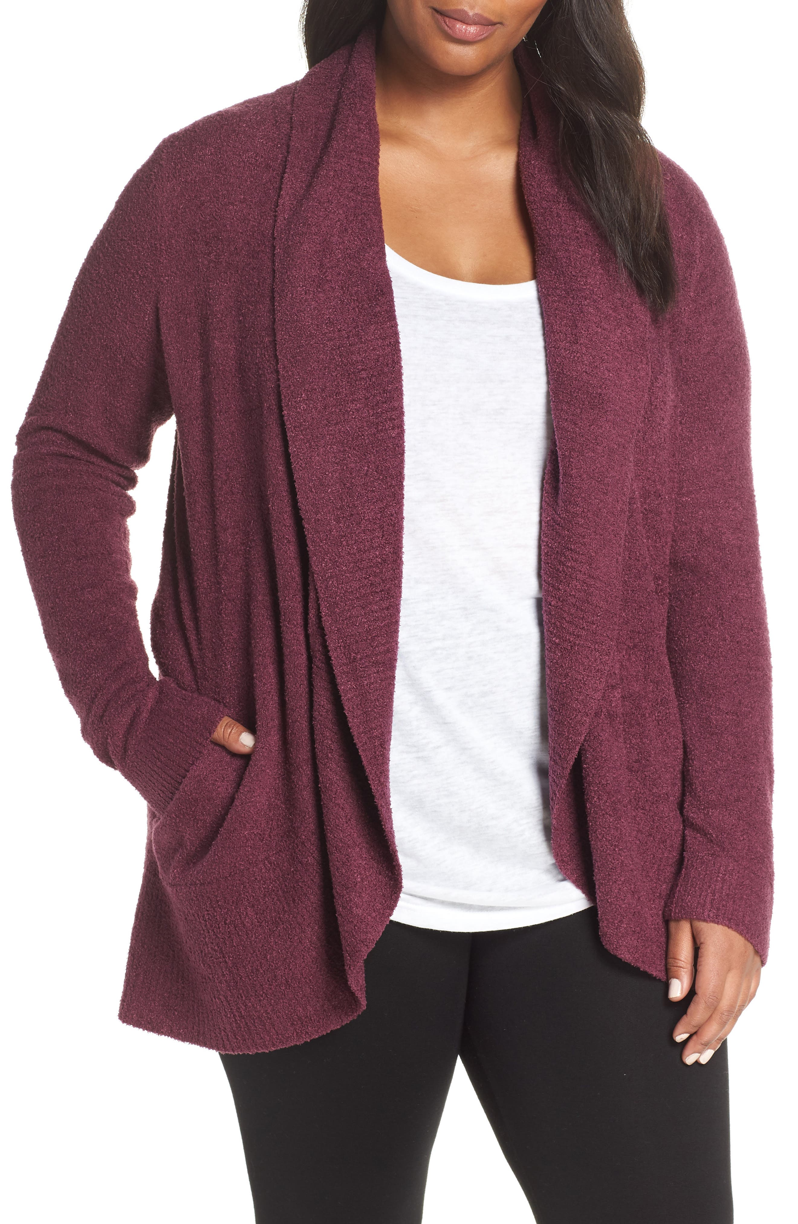 Plus Size Barefoot Dreams Cozychic Lite Circle Cardigan, Burgundy