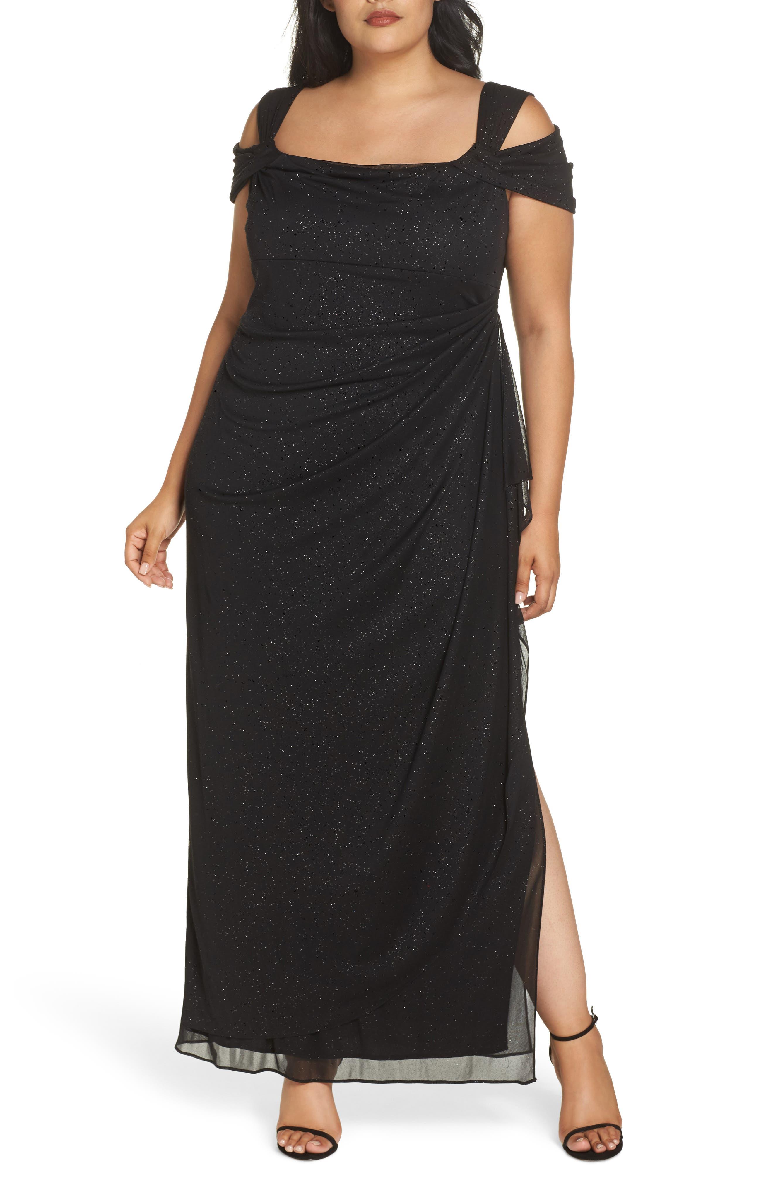 Plus Size Alex Evenings Cold Shoulder Sheath Gown, Black