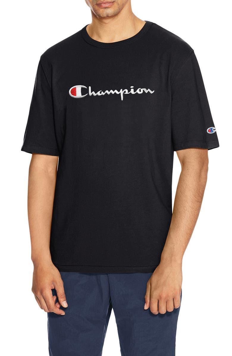 CHAMPION Heritage Script Logo T-Shirt, Main, color, BLACK