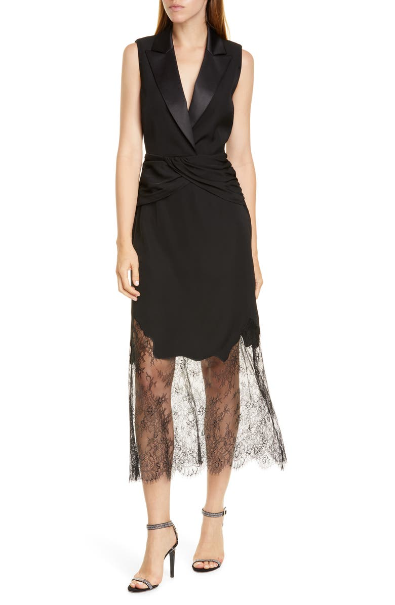 SELF-PORTRAIT Sleeveless Lace Midi Dress, Main, color, BLACK