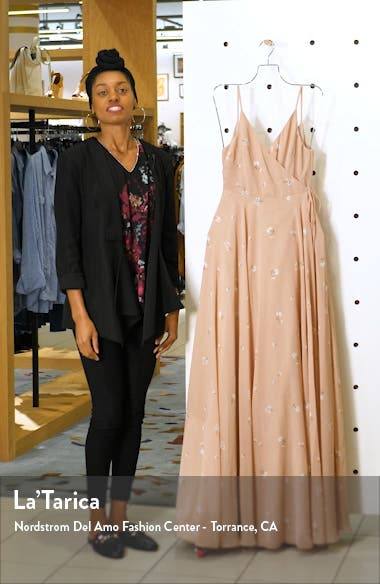 James Ditsy Floral Print Wrap Chiffon Evening Gown, sales video thumbnail