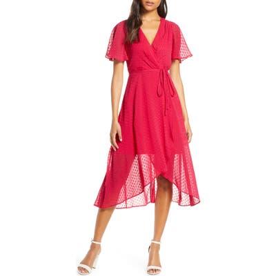 Vince Camuto Clip Dot Faux Wrap Dress, Pink