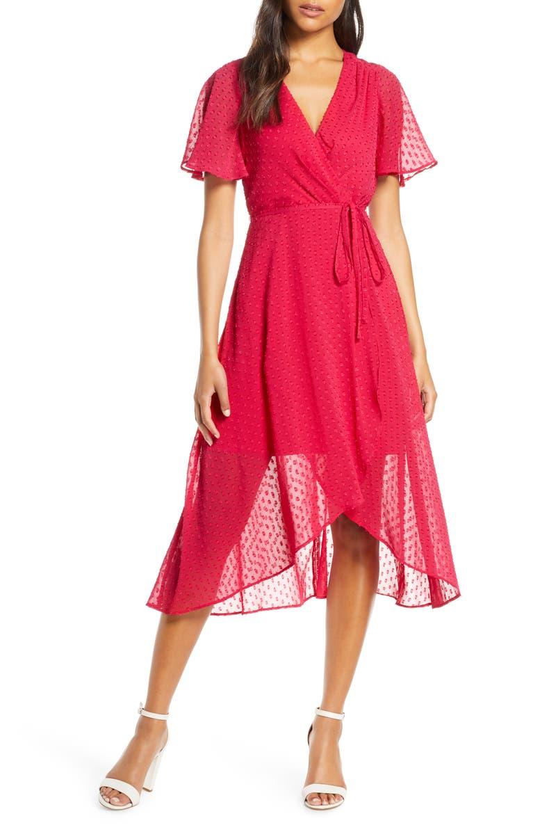 VINCE CAMUTO Clip Dot Faux Wrap Dress, Main, color, BERRY