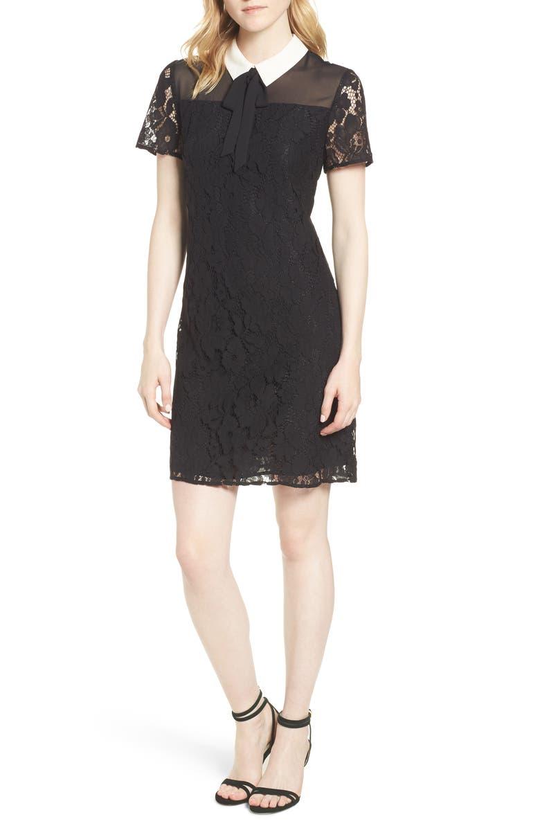 CECE Collared Cotton Blend Lace Dress, Main, color, 006
