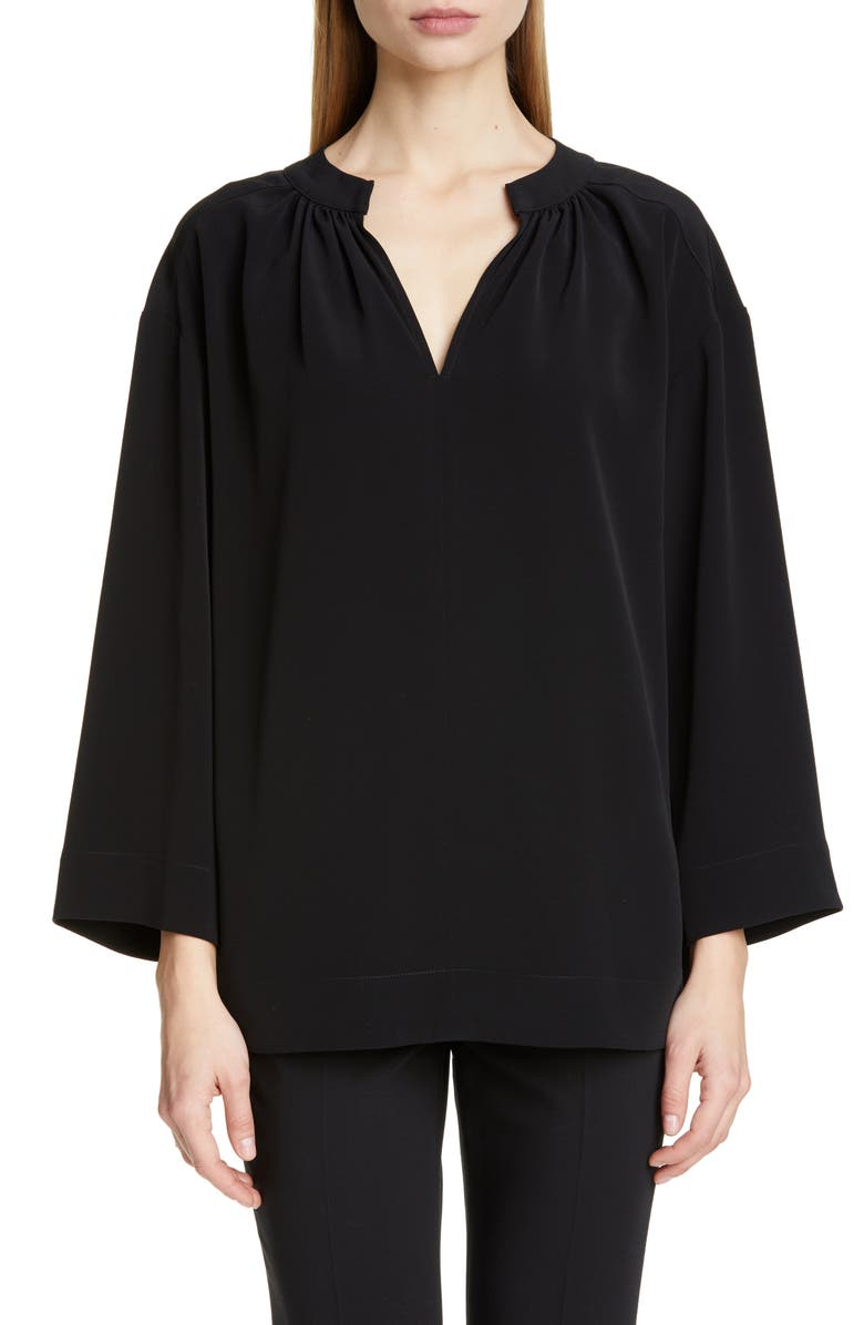 CO Wide Sleeve Gathered Crepe Tunic Top, Main, color, BLACK
