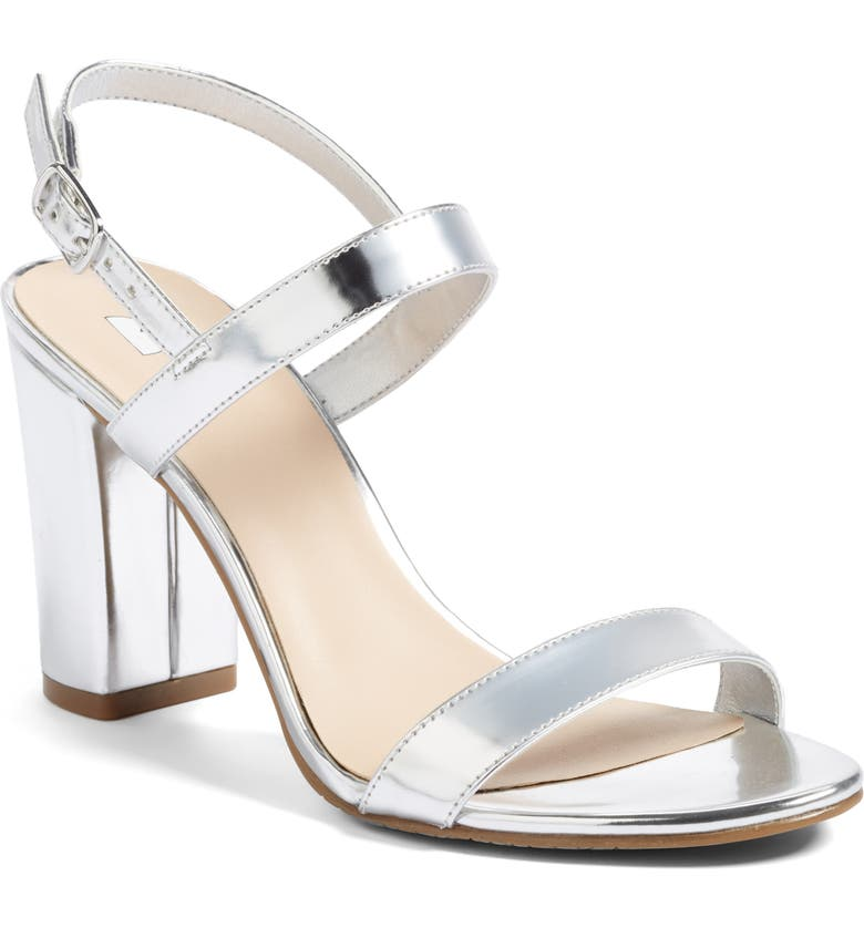 BP. Lula Block Heel Slingback Sandal, Main, color, SILVER FAUX LEATHER