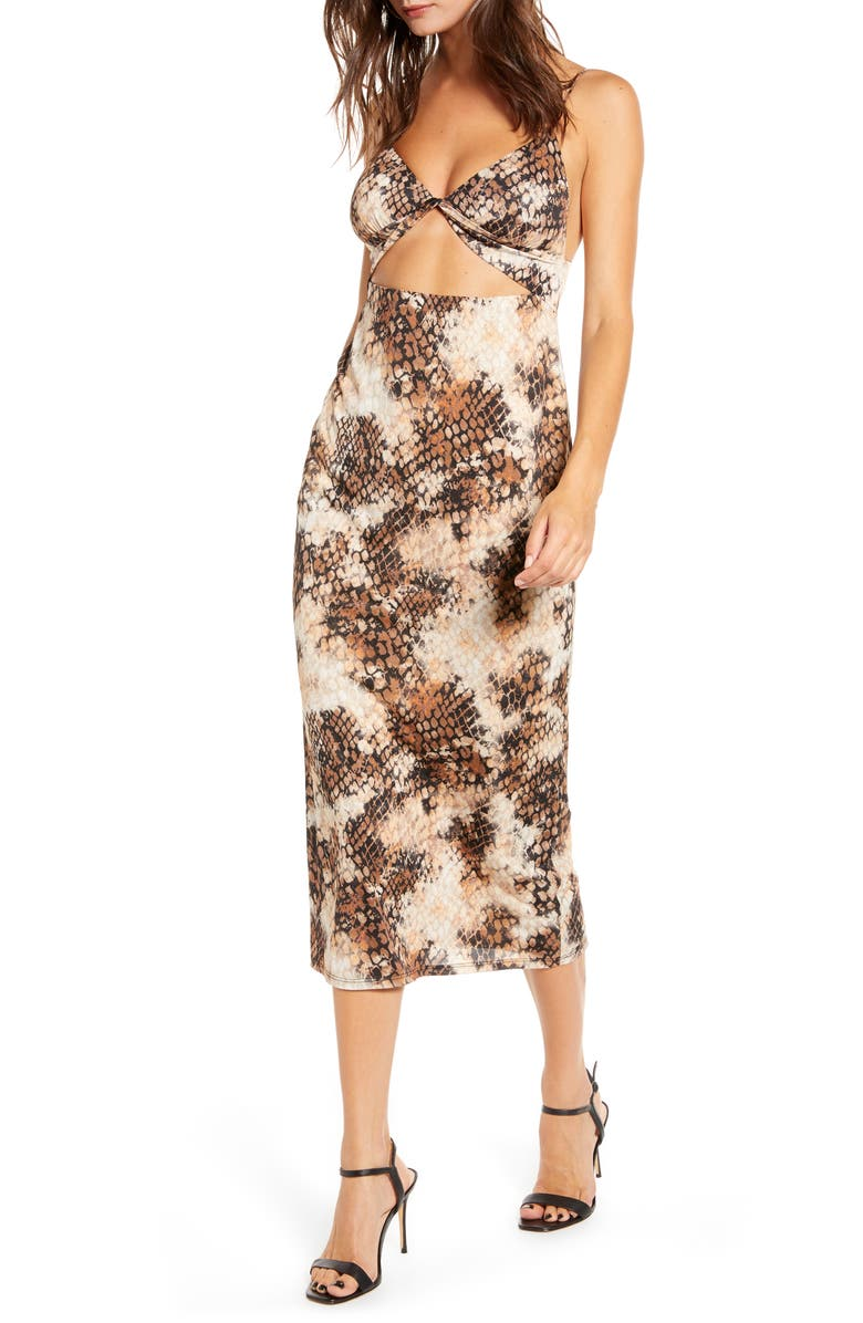 AFRM Snakeskin Print Cutout Midi Sundress, Main, color, STAMPED SNAKE