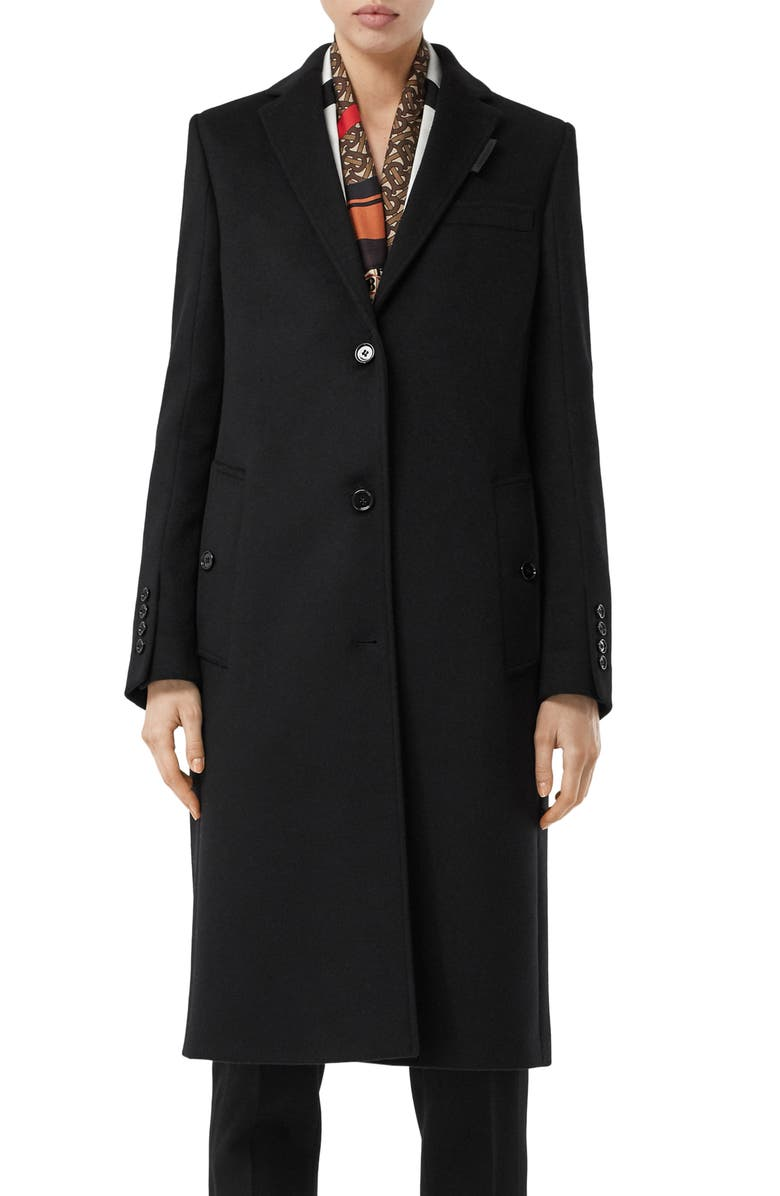 BURBERRY Bramley Wool & Cashmere Car Coat, Main, color, BLACK