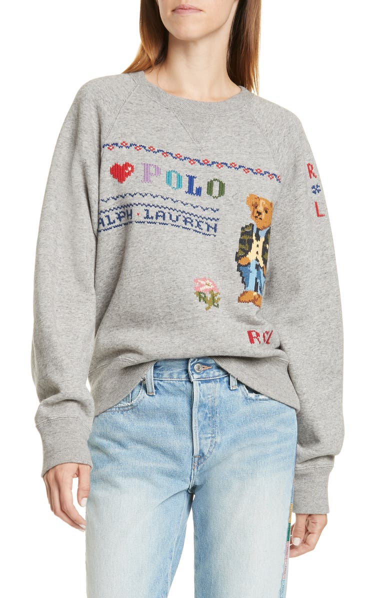 POLO RALPH LAUREN Bear Sweatshirt, Main, color, DARK VINTAGE HEATHER