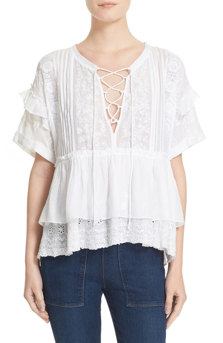 THE KOOPLES Embroidered Cotton Eyelet Top, Main, color, 100