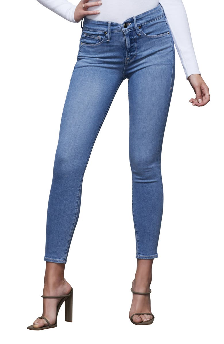 GOOD AMERICAN Good Legs Notched High Waist Ankle Skinny Jeans, Main, color, BLUE378