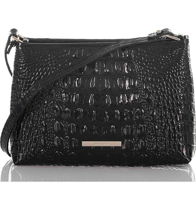 BRAHMIN Lorelei Croc Embossed Leather Shoulder Bag, Main, color, BLACK