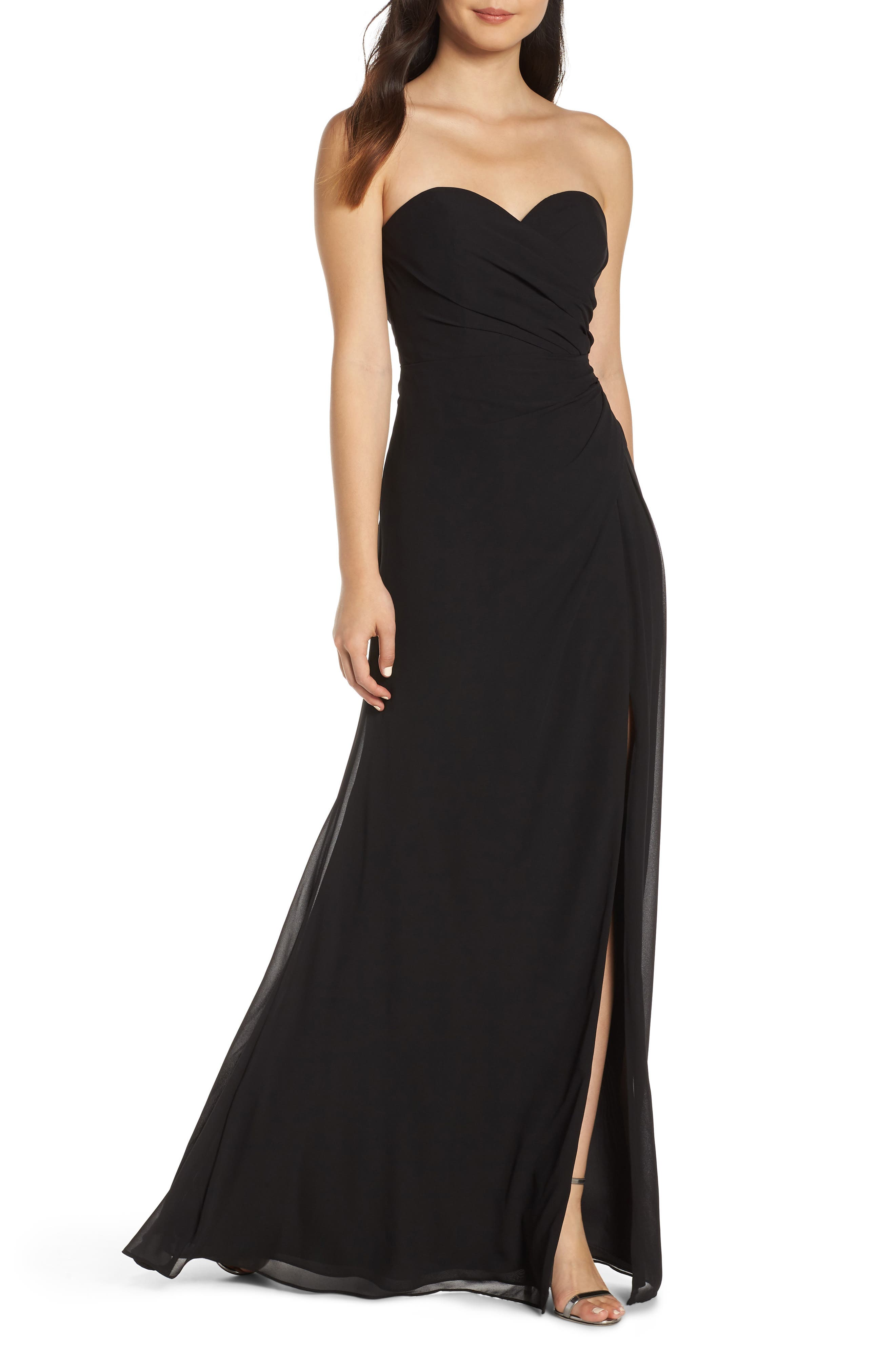 Hayley Paige Occasions Strapless Chiffon Evening Dress, Black