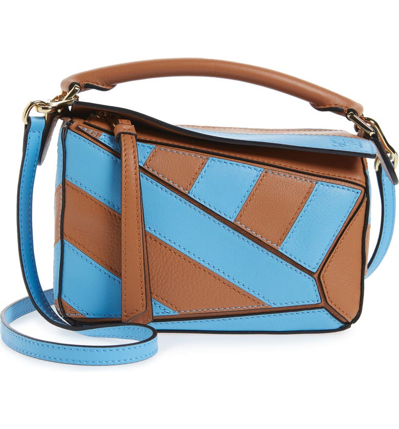 LOEWE Mini Puzzle Rugby Stripe Leather Bag, Main, color, TAN/ SKY BLUE
