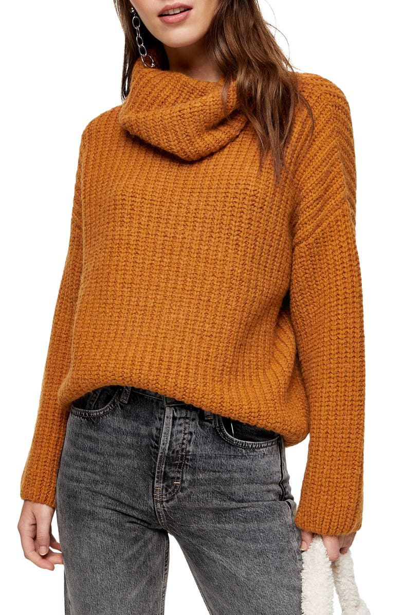 TOPSHOP Turtleneck Rib Knit Sweater, Main, color, BROWN
